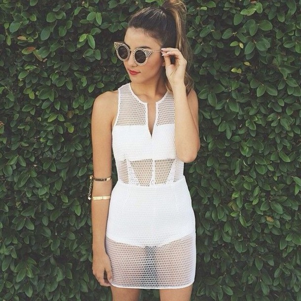 Dress: white dress, white, white t-shirt, dope, fashion, style ...