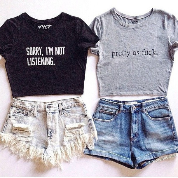 top nyct clothing crop tops cute house short shorts graphic tee pretty as fuck sorry im not listening ootd ootd top spring outfits summer top