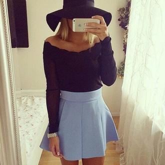 skirt blue baby blue skater skirt hat top