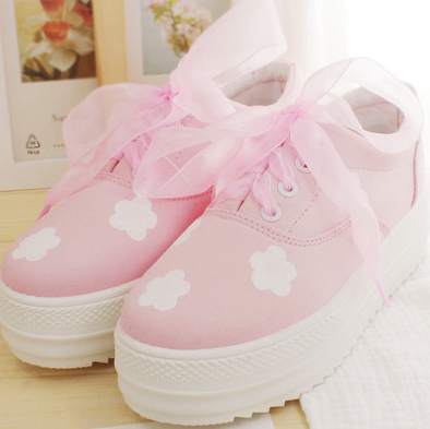 japanese kawaii clouds painted canvas platform shoes