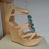 shoes,turquoise,stones,leather shoes,strappy heels,strappy wedges,wedge sandals,platform wedges,beautiful new trendy shoess,trendy shoes,fashion shoes women,summer shoes,online,heels,cutesyoriginals,wedges