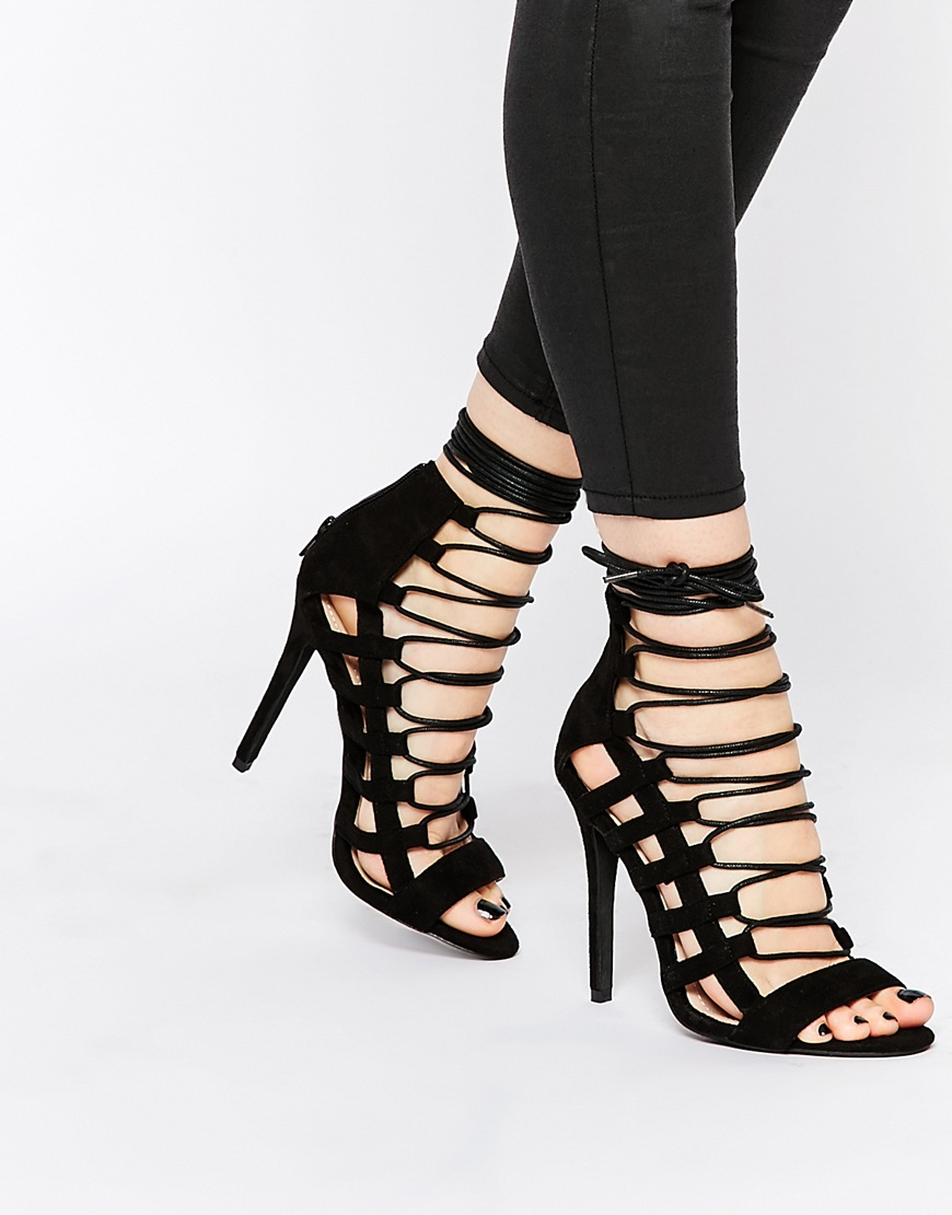 Caged Lace Up Heeled Sandals at asos.com