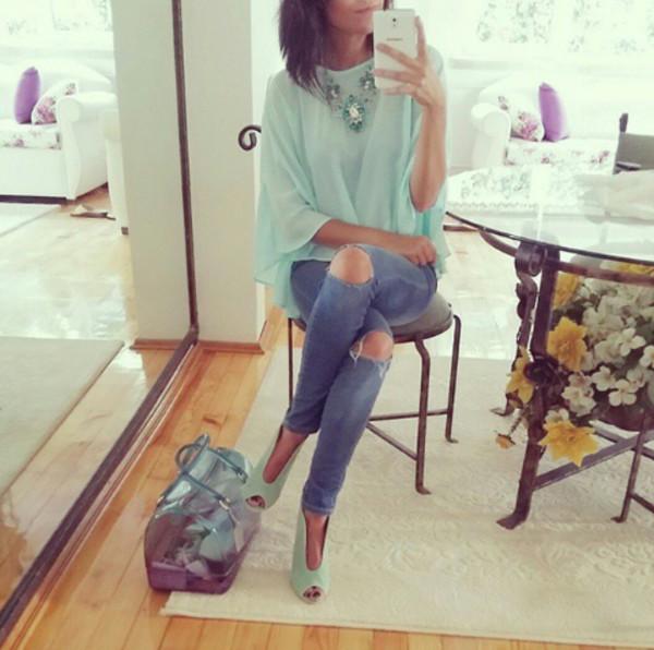 blouse shoes jeans
