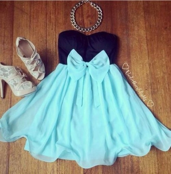 cute dress black aqua blue short dress shoes jewels