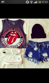 hat,black,t-shirt,the rolling stones,tongue,ripped jeans,shorts,red,shirt,shoes