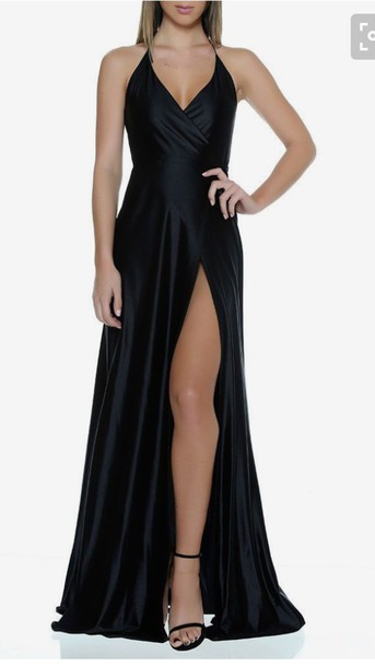 Dress: black, silk, slit - Wheretoget