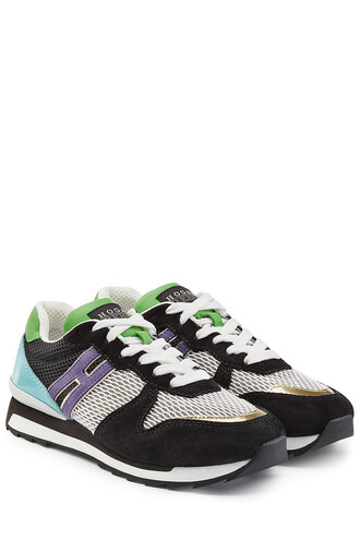 mesh sneakers leather suede black shoes
