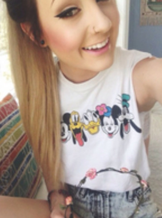 shirt top muscle shirt disney mickey mouse minnie mouse shorts flower crown jewels t-shirt