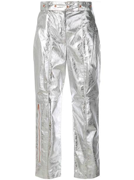 Proenza Schouler metallic women leather grey pants