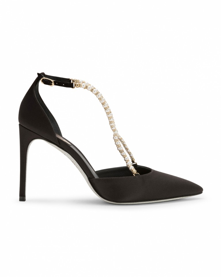 Satin slingback with pearls
