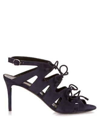 bow sandals suede navy shoes