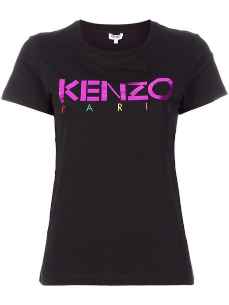 Kenzo - logo print T-shirt - women - Cotton - S, Black, Cotton