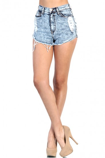 LoveMelrose.com From Harry & Molly | Back Pocket Destroyed Denim Jean Short - Medium Acid Wash