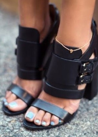 shoes sandals heels black leather buckles
