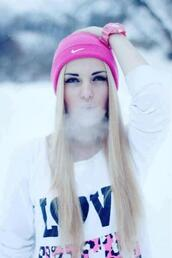 hat,nike,beanie,pink,pink beanie