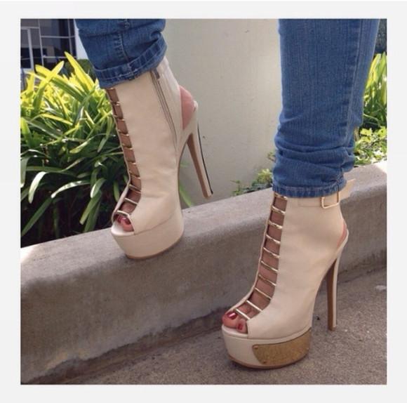high heels open toes cream high heels