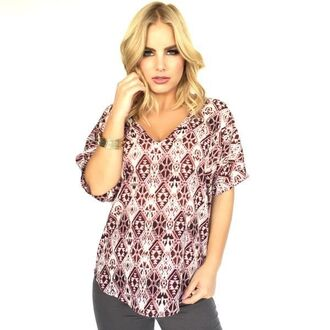 blouse aztec short sleeved red