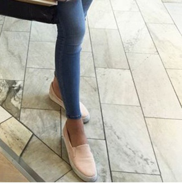 shoes, pink, nude, slip on shoes