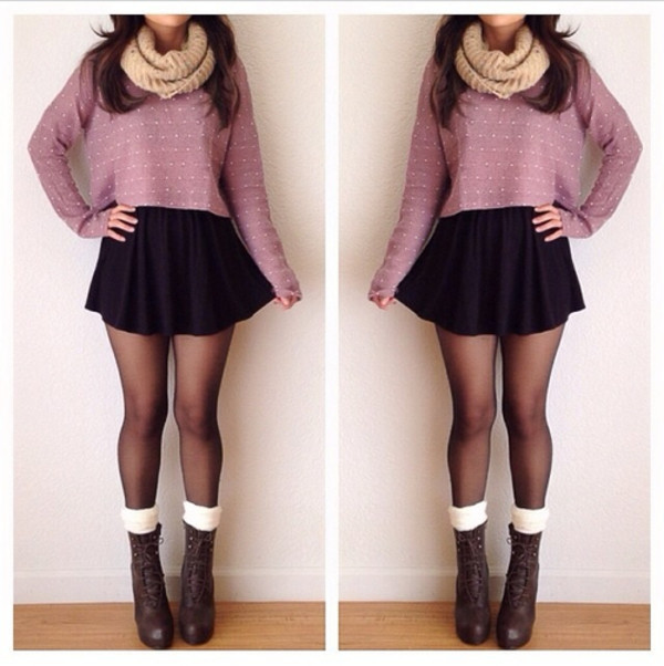 scarf boots skirt sweater skirt