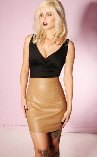 skirt mini skirt leather skirt faux leather caramel leather caramel leather skirt
