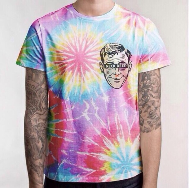 t-shirt neck deep tie dye band tie dye shirt t-shirt band t-shirt tie dye hippie mens t-shirt shirt punk band music merchandise