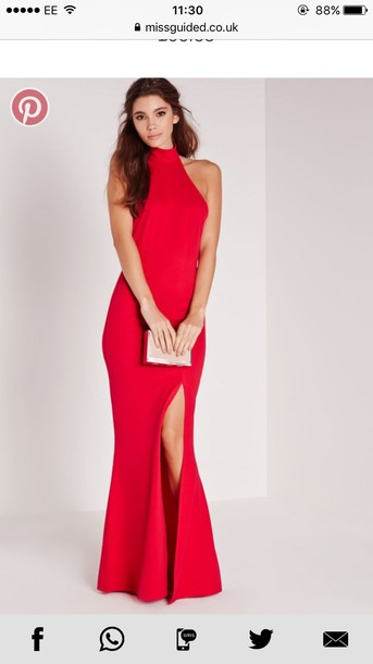 a35a00f462e3 dress red maxi dress high neck high neck maxi dress halter neck backless  slit thigh split