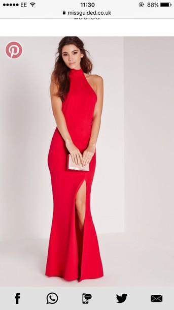 dress, red, maxi dress, high neck, high neck maxi dress, halter neck ...