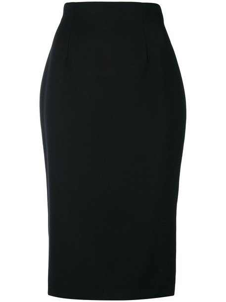 skirt pencil skirt women classic black silk wool