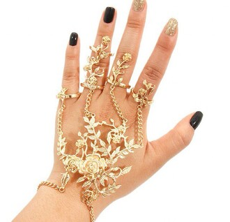 jewels gold yellow cute hand jewelry handcuffs hand chain roses ring rings flower gold cute rings cute summer bracelets bracelet chains gold bracelet