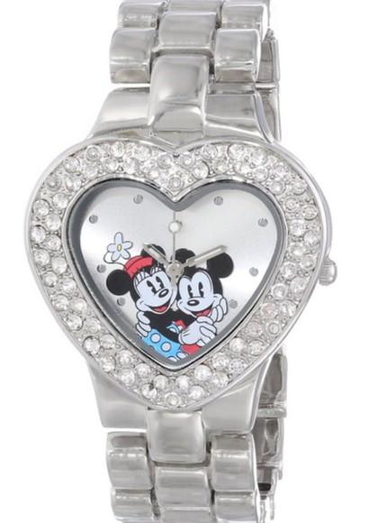 jewels disney mickey &  minnie mouse silver heart watch