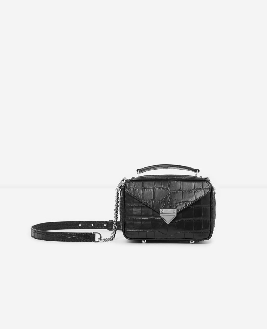 Mini black Barbara bag in crocodile leather