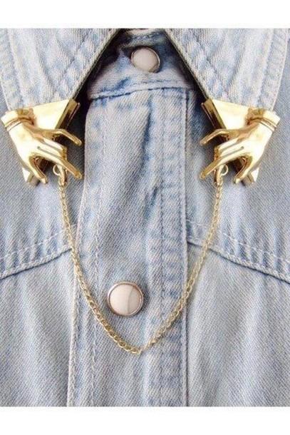 shirt blue shirt collar jewels