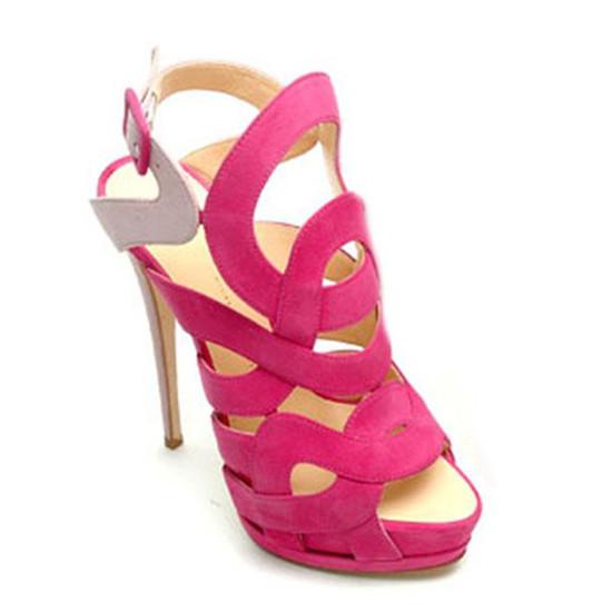 Discount Giuseppe Zanotti Vivid Suede Alien Cage Sandals Pink Sale 2014