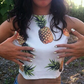 top crop tops pineapple print cute white shirt pineapple tumblr nails