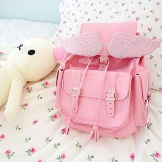 bag backpack pink purple angel wings beautiful she wears fashion girly instagram tumblr