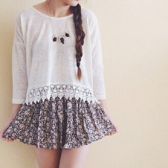 shirt blouse crochet lace white knit skirt floral flowers necklace gold black sweatshirt