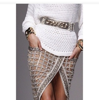 belt accessories skirt top bracelets jewels chain gold sequins glitter pencil skirt sweater style fashion slit skirt socks