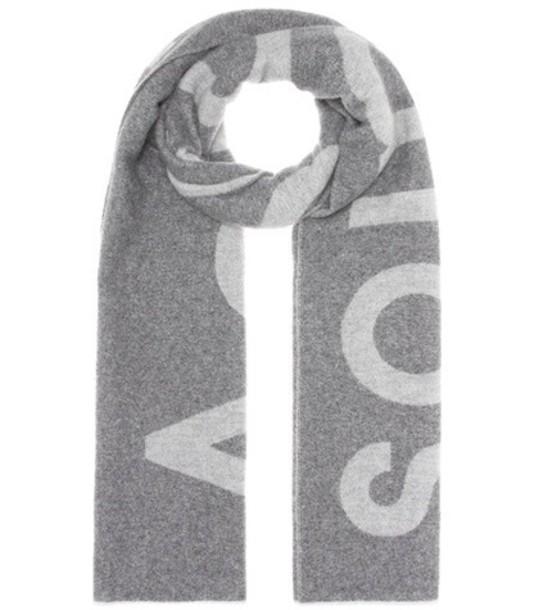 Acne Studios Toronty Logo wool-blend scarf in grey
