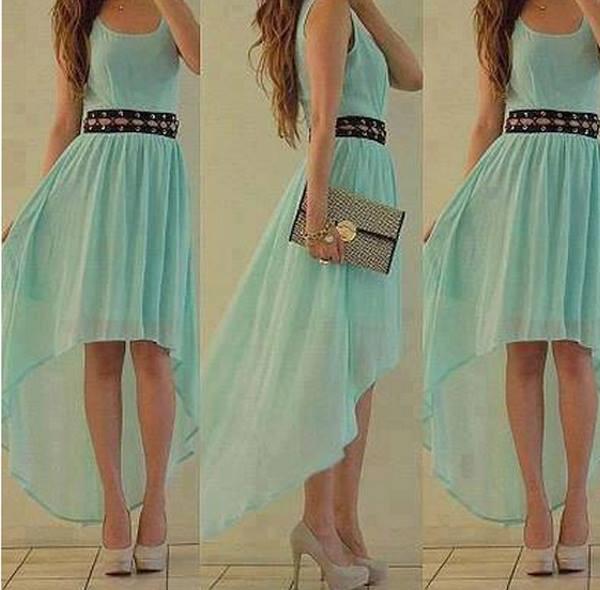 dress high heels wallet aqua high low