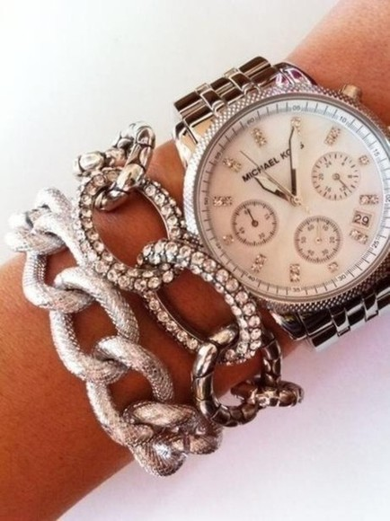 jewels silver jewelry chaine silver watch shiny