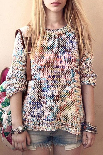 sweater rainbow fashion cozy knitwear round neck mixed color sweater trendy warm