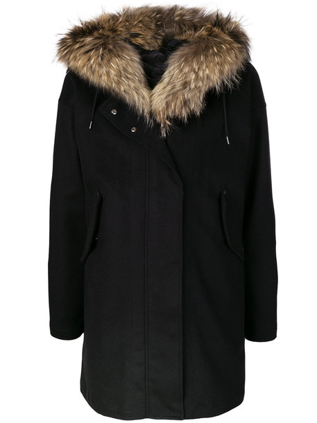 moncler coat parka fur women black wool