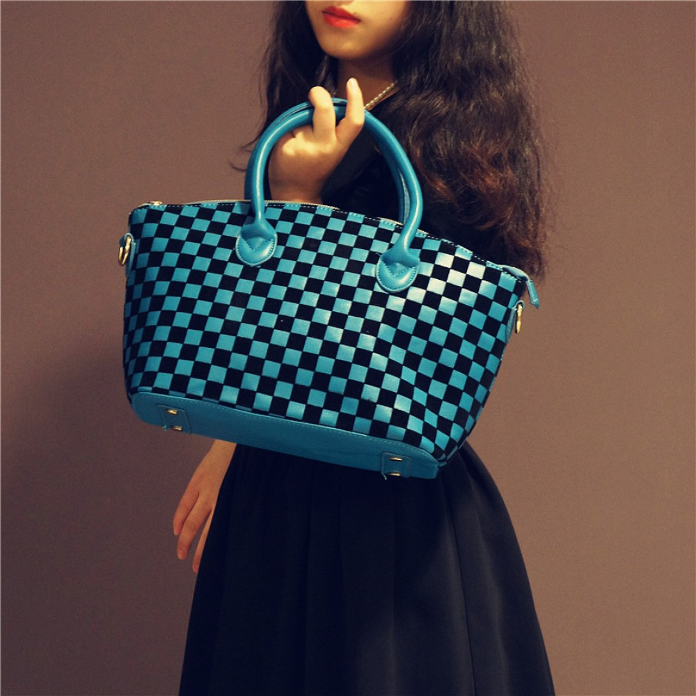 Blue checker tote handbag