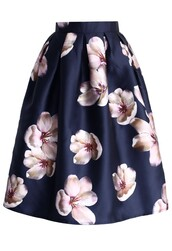 skirt,chicwish,peach blossom skirt,navy pleated midi skirt,floral print skirt,fashion and classic