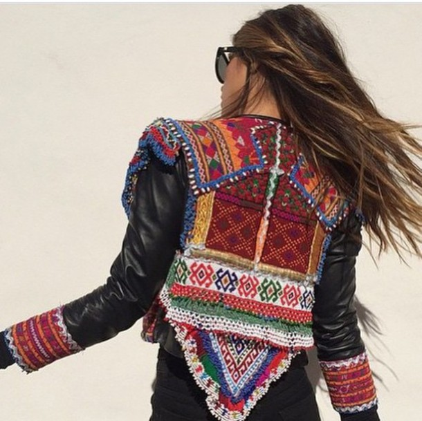 jacket colorful boho boho chic gypsy style summer top fashion fall jacket