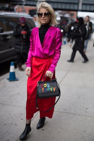 skirt nyfw 2017 fashion week 2017 fashion week streetstyle red skirt wrap skirt satin maxi skirt net tights tights fishnet tights bag black bag customized top pink top wrap top turtleneck black turtleneck top boots black boots ankle boots sunglasses