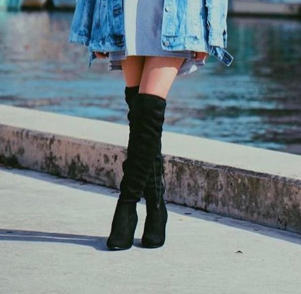 75259b617fcc7 shoes, tall velvet black boots