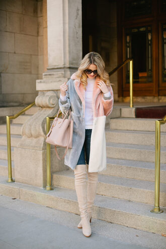 ivory lane blogger coat sweater jeans shoes bag sunglasses jewels make-up handbag fur coat winter outfits thigh high boots tumblr teddy bear coat fuzzy coat denim blue jeans top white top boots white boots over the knee boots suede suede boots pink bag