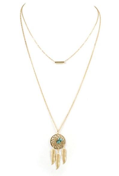 Layered dreamcatcher bar necklace
