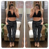pants,trouser,leggings,crop tops,v neck,top,plunge v neck,plunge v neck top,plunge neckline,black,bustier,bra,bralette,pockets,casual,party,glamour,skinny pants,polka dots,polka dot pants